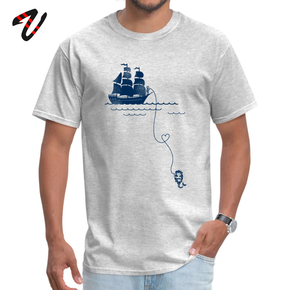 Couple Men Tshirt Sailor Long Distance Love Wholesale Sleeve Europe T Shirt 100% Cotton Mens Grey Tops T-Shirt Christmas Gift(China)