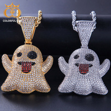 Colorful.gem Hip Hop Iced Out Cubic Zircon Emoji Ghost Pendant Necklace Copper Chain for Men Women Crystal Pendants Jewelry Gift xukim jewelry silver gold color cubic zirconia iced out paw dog cat claw pendant necklace hip hop jewelry