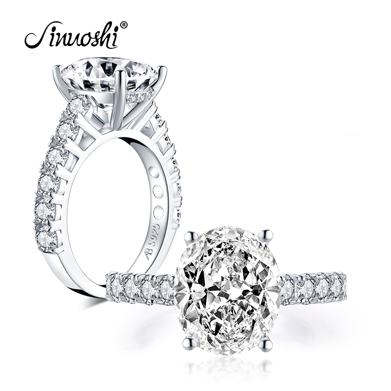 AINUOSHI Fashion 925 Sterling Silver 10x12mm Big Oval Cut Engagement Ring Simulated Diamond Wedding 5.0ct Bridal Ring Jewelry