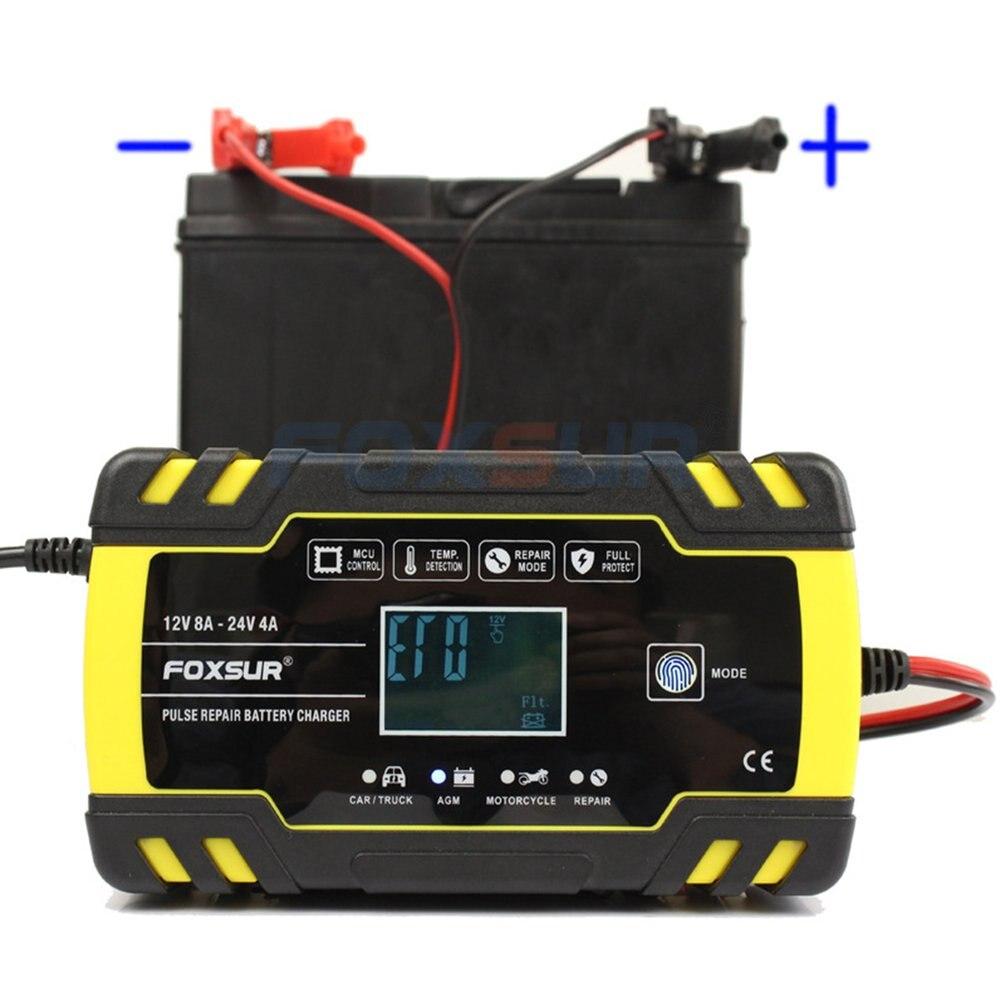 Carro da motocicleta 12 v 8a 24 v 4a pulso reparação carregador de bateria com display lcd agm gel molhado chumbo ácido carregador de bateria
