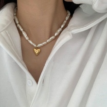 handmade cultured freshwater pearl choker necklace women genuine leather jewelry New Arrive Fashion Freshwater Pearl Choker Necklace For Women Elegant Metal Heart Short Collares Jewelry Gifts