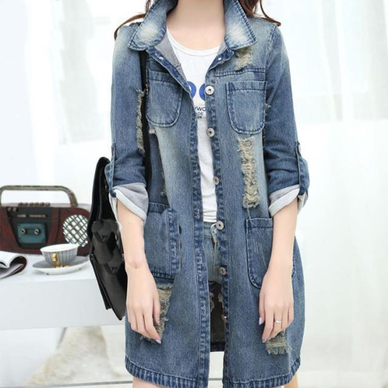 Big Size 4XL 5XL Women Denim   Jacket   Long Jeans   Jacket   Coat Casual Frayed Female   Basic     Jackets   Outwear 2019 New Plus Size