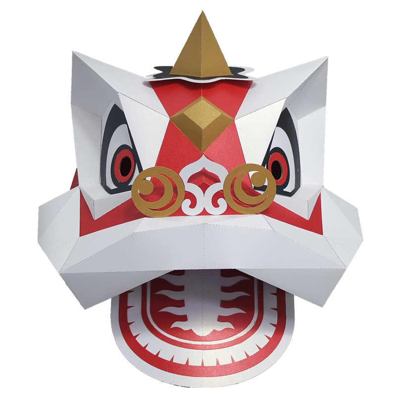 Creative paper model handmade origami party event lion mask decoration adult dance lion hooded festive party supplies ornaments