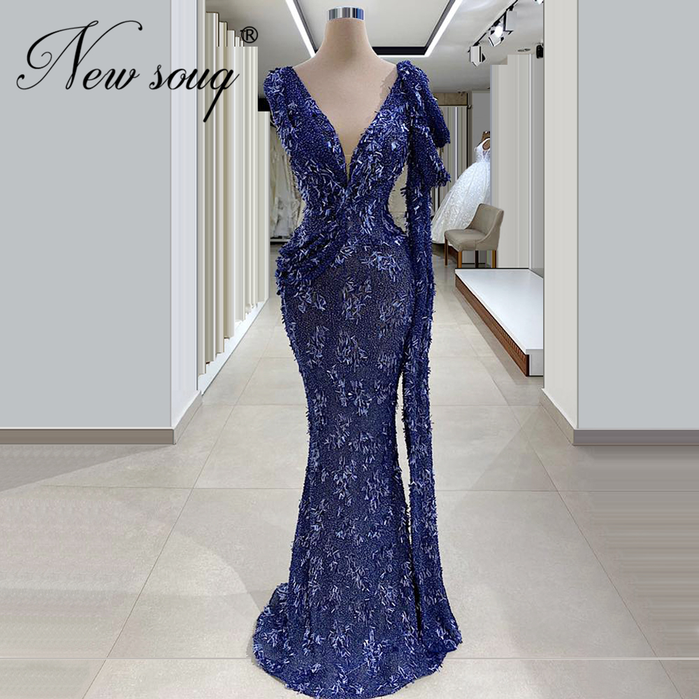 Dubai Design Blue Formal Dress Newest Evening Dresses Beaded Middle East Long Mermaid Turkish Pageant Gowns 2020 Robe De SoireeEvening Dresses   -