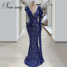Dubai Design Blue Formal Dress Newest Evening Dresses Beaded Middle East Long Mermaid Turkish Pageant Gowns 2020 Robe De Soiree