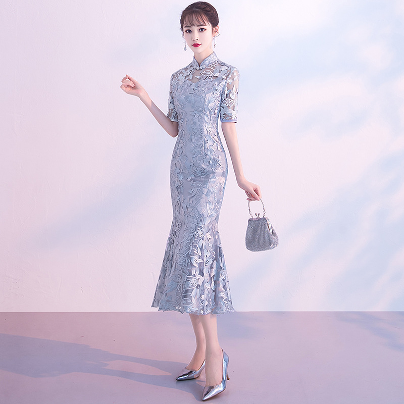 Nian Qing Kuan GIRL'S Improved Cheongsam Dress 2019 New Style Summer Lace Chinese-style Daily Life Students Dress