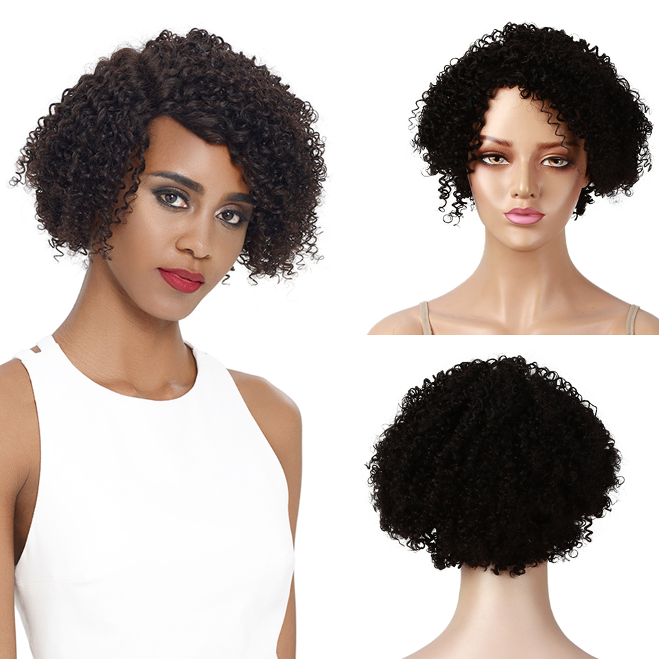 Sleek Curly Human Hair Wig 150% Density Jerry Curl Left Side Wigs Fast Shipping Refresh 8 Inch Short Natural Color Pixie Cut Wig