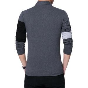 Image 2 - BROWON automne mode grande taille 5XL hommes t shirt avec col couleur Patchwork t shirt à manches longues t shirt hommes vêtements 2020