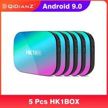 5pcs HK1 חכמה תיבת 4K 1080P amlogic S905X3 אנדרואיד 9 9.0 HK1Box סט Top Box כפולה WiFi 1000m 4K 32gb 64gb