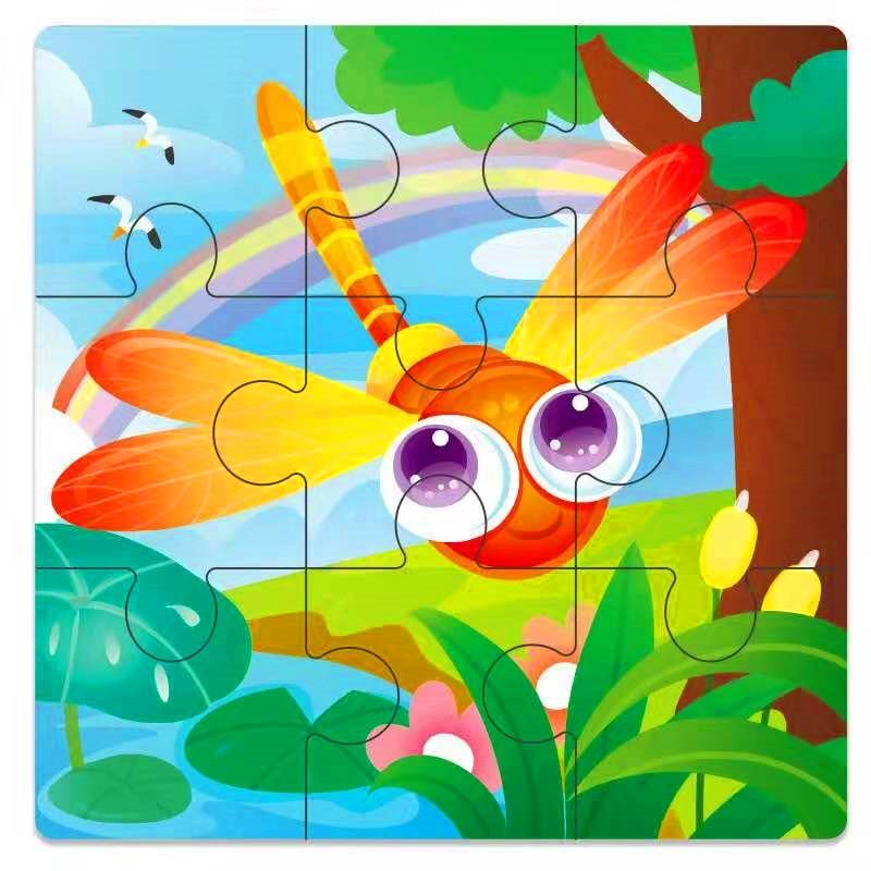 Мини Размер 11*11 см детская игрушка деревянная головоломка деревянная 3D головоломка для детей Детские Мультяшные животные/дорожные Пазлы обучающая игрушка - Цвет: CAMEL