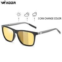 Квадратная фотохромная линза поляризационные мужские солнцезащитные очки для вождения в дневное и ночное видение, антибликовые мужские со...