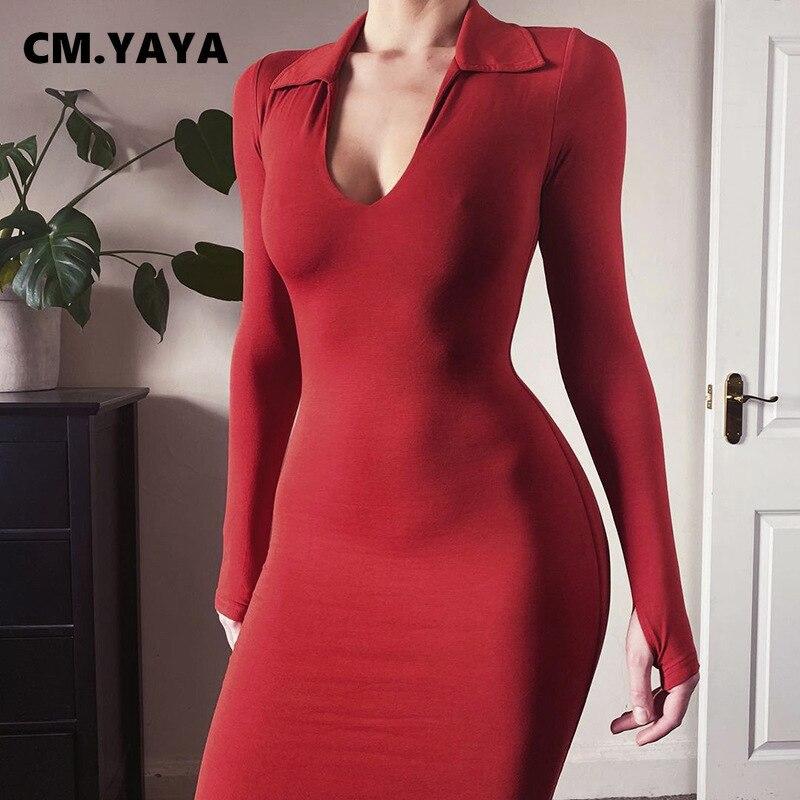CM.YAYA-vestido ceñido de media pantorrilla para mujer, Sexy, liso, con cuello de pico profundo, manga larga, para fiesta, vestidos de noche para discoteca, Primavera