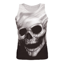 Lato bezrękawnik na siłownię męska czaszka drukowanie wiara koszula odzież Fitness męskie letnie sportowe Casual Slim koszulki z nadrukami koszule kamizelka topy tanie tanio feitong CN (pochodzenie) Suknem Na co dzień W paski X122222 spandex O-neck