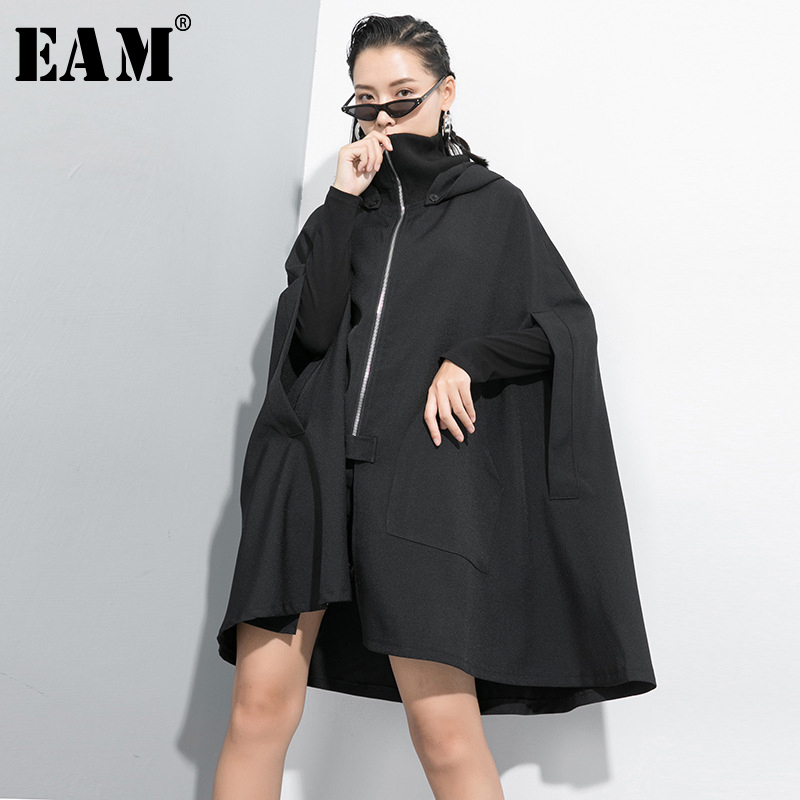 [EAM] Women Black Big Size Oversize Trench New Hooded Long Sleeve Loose Fit Windbreaker Fashion Tide Spring Autumn 2020 1B701