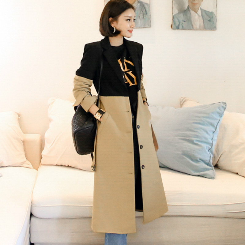 Autumn Black Khaki Color Patchwork Single Breasted Long   Trench   Cloth Women Notched Sashes Casual Wind Coat