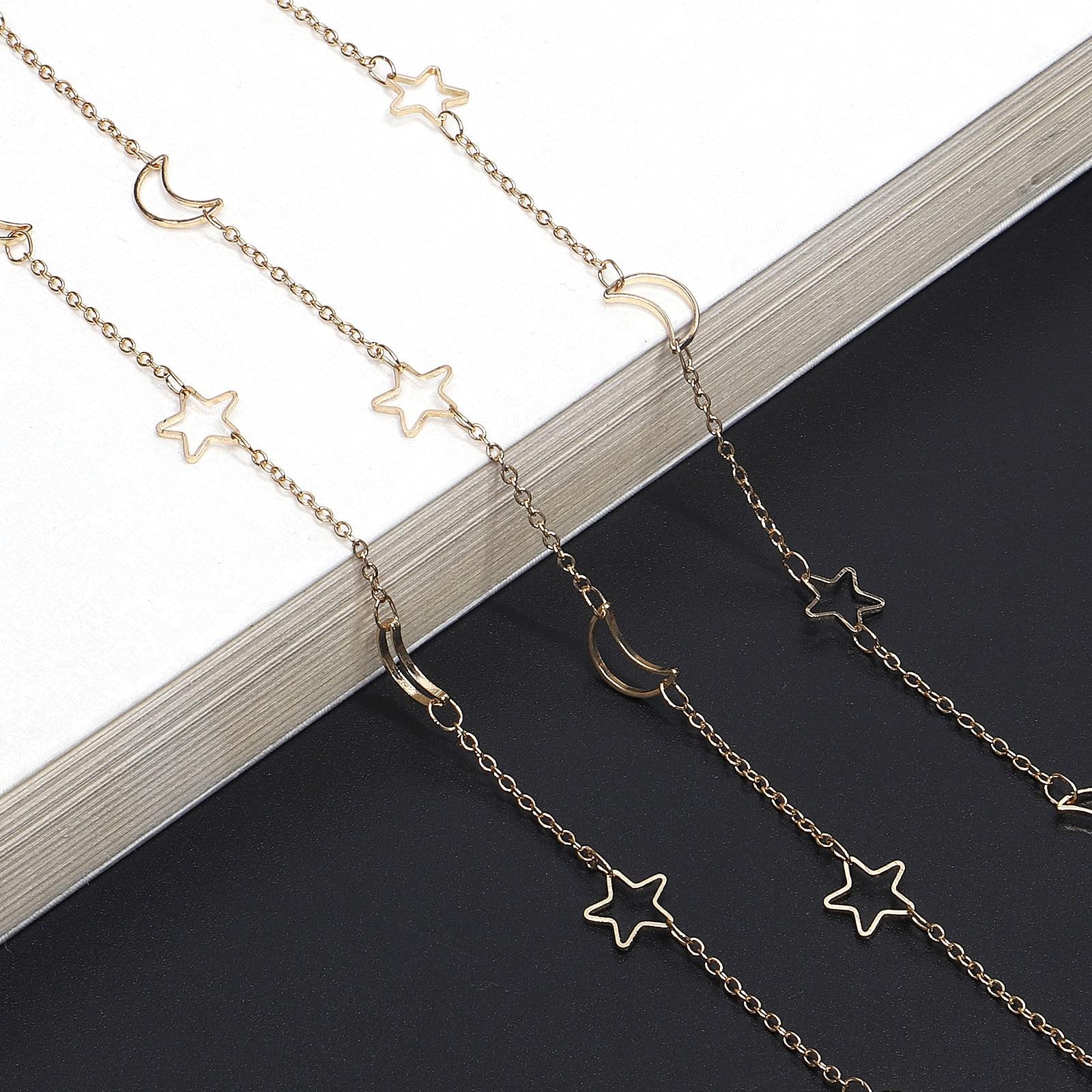 New Design Moon Star Eyeglasses Chain Eyewears Cord Holder Neck Strap Non-slip Sunglasses Chain For Women Necklace Korea Style