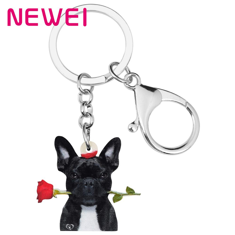 NEWEI Acrylic Valentine's Day Bulldog Dog Rose Key Chains Rings Bag Car Purse Decoration Keychain For Women Girl Teen Charm Gift