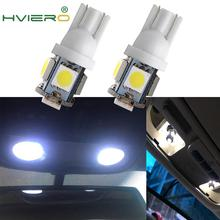 New 2X White Red Blue Pink Yellow Green T10 Wedge 5SMD 5 SMD 5050 LED Light bulbs W5W 2825 158 192 168 194 Bulb Car Lamp DC 12V w5w 10 led 7020 smd car t10 led 194 168 wedge replacement reverse instrument panel lamp white blue bulbs for clearance lights