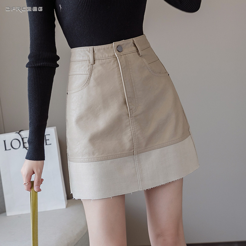 Patchwork Pu Leather Women Skirts 2019 High Waist Autumn Winter Streetwear Ladies Faux Leather Sexy A-Line Skirt Female Saia