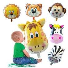 1 pçs grande cabeça animal balões tema animal aniversário decorações da festa de aniversário crianças brinquedos 16 polegada dos desenhos animados animal número balão bola