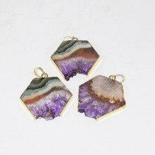 Модные ювелирные изделия натуральный срез фиолетовый Кристальное кварцевое ожерелье кулон мужской 2019raw плиты geode радужные аметисты камень кулон женщины