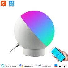 Tuya 스마트 와이파이 테이블 램프 무선 제어 알렉사를 통해 다채로운 Dimmable 데스크 야간 조명 음성 제어 Google 홈 스마트 홈
