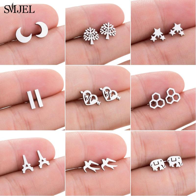 SMJEL Cute Stainless Steel Stud Earrings For Women Kids Fashion Geometric Elephant Bar Crescent Cat Earings Black Jewelry Brinco