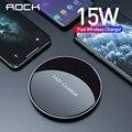 ROCK USB C rápido 15W cargador inalámbrico para Xiaomi Mi 9 Samsung S10 S9 Qi 10W de carga rápida para iPhone 11 XS XR 8X8