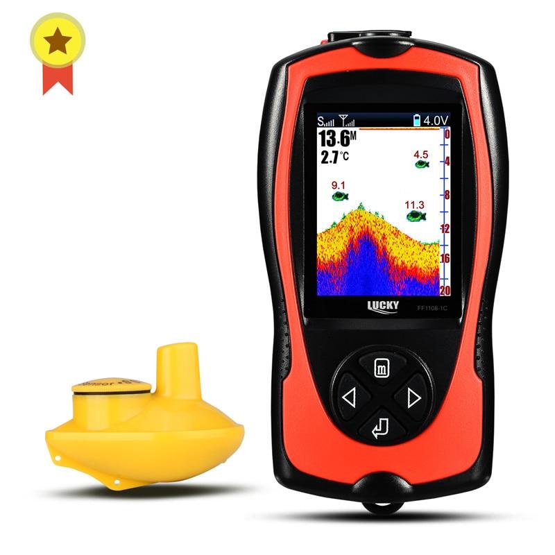 Russian menu!LUCKY FF1108-1CW 100m wireless operating range Wireless Sonar Color Fishfinder 147ft/45m water depth sonar