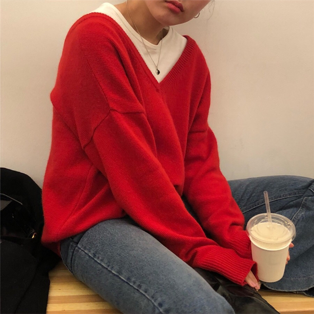 Ailegogo New 2020 Autumn Winter V-Neck pullover Warm Women Sweaters Fashion Sexy Casual Korean Style Female Jumpers SW7113 4