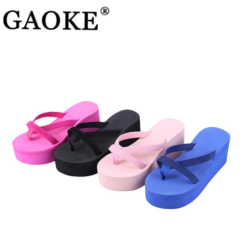Kadın ayakkabı kadın yaz moda terlik Flip flop plaj kama kalın taban topuklu ayakkabılar Drop Shipping banyo ayakkabı terlik