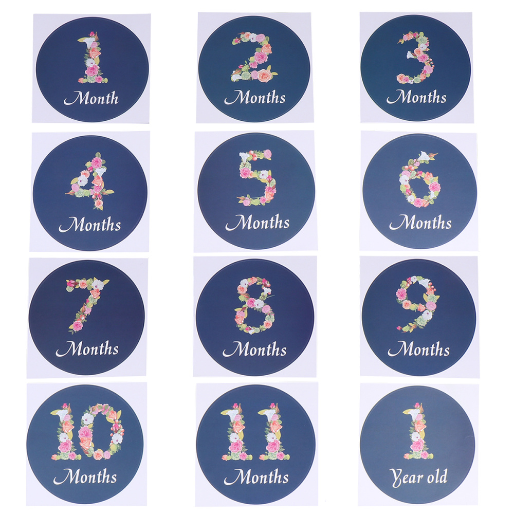 12pcs Creative Baby Month Decals Interesting Infant Photo Sticker Adorable Baby Month Sticker (Baby Boy Style)