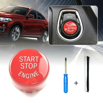 Red Car Engine START Button Replace Cover STOP Switch Button Cover Accessories For BMW F20 F30 F10 F01 F25 F26 image