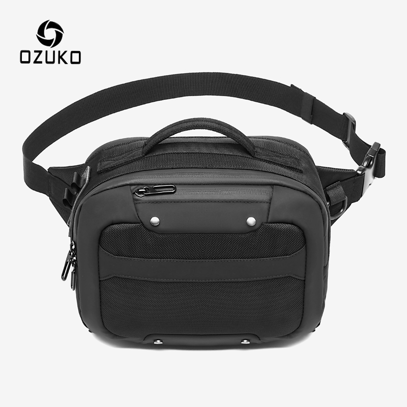 OZUKO USB Charging Waterproof Men's Waist Bag Outdoor Travel Chest Pack Male Casual Fanny Pack Crossbody Bag Phone Money Pouch