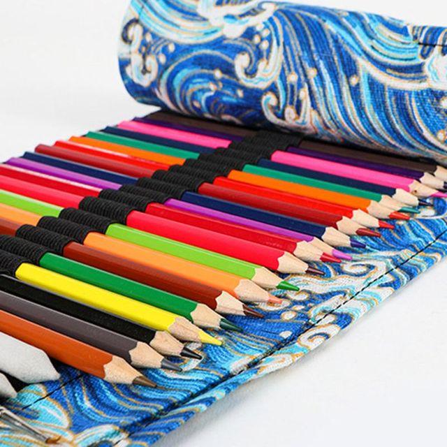 12/24/36/48/72 Holes Canvas Roll Up Pencil Bag Pen Curtain Case Makeup Wrap Holder Storage Pouch 4