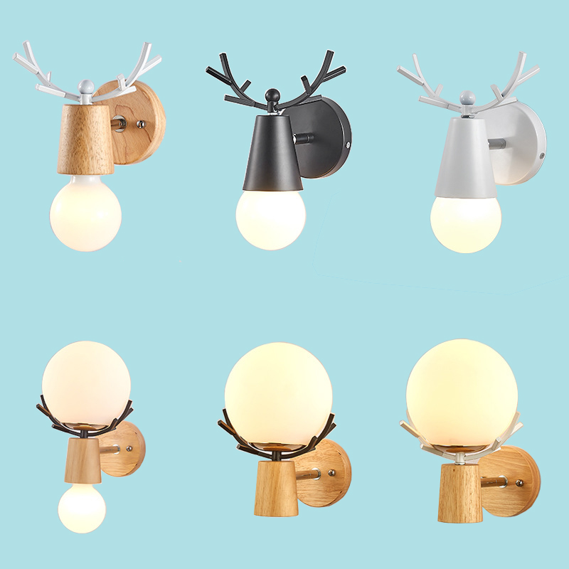 Nordic Wood Led Indoor Wall Lamp Modern White Black Night Light  Mounted Round Glass Ball Bedside Bedroom