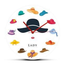 Moda senhora com vários chapéus relógio de parede decorativo silencioso não relógio de parede chapéus loja sinal de parede personalizado nome do negócio