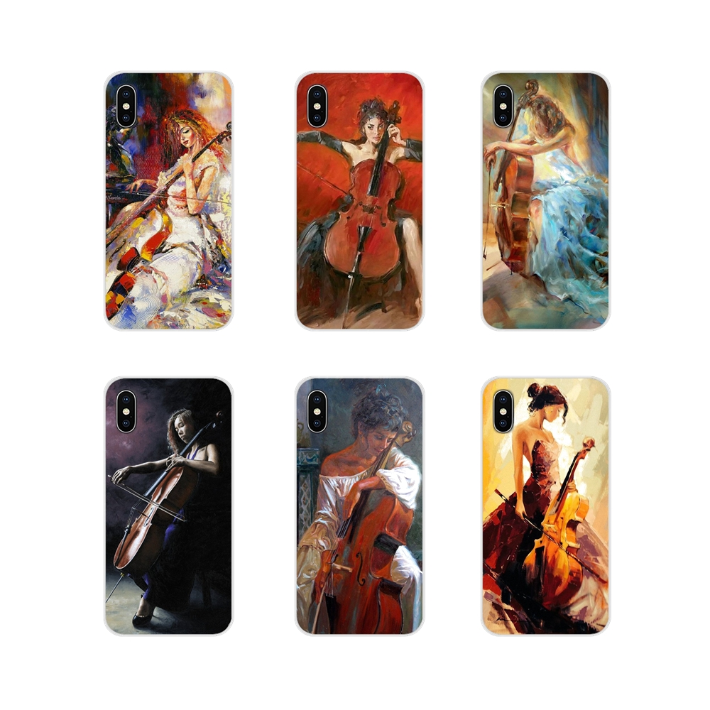 For LG G3 G4 Mini G5 G6 G7 Q6 Q7 Q8 Q9 V10 V20 V30 X Power 2 3 K10 K4 K8 2017 Painting Girl Play The Cello Silicone Phone Covers