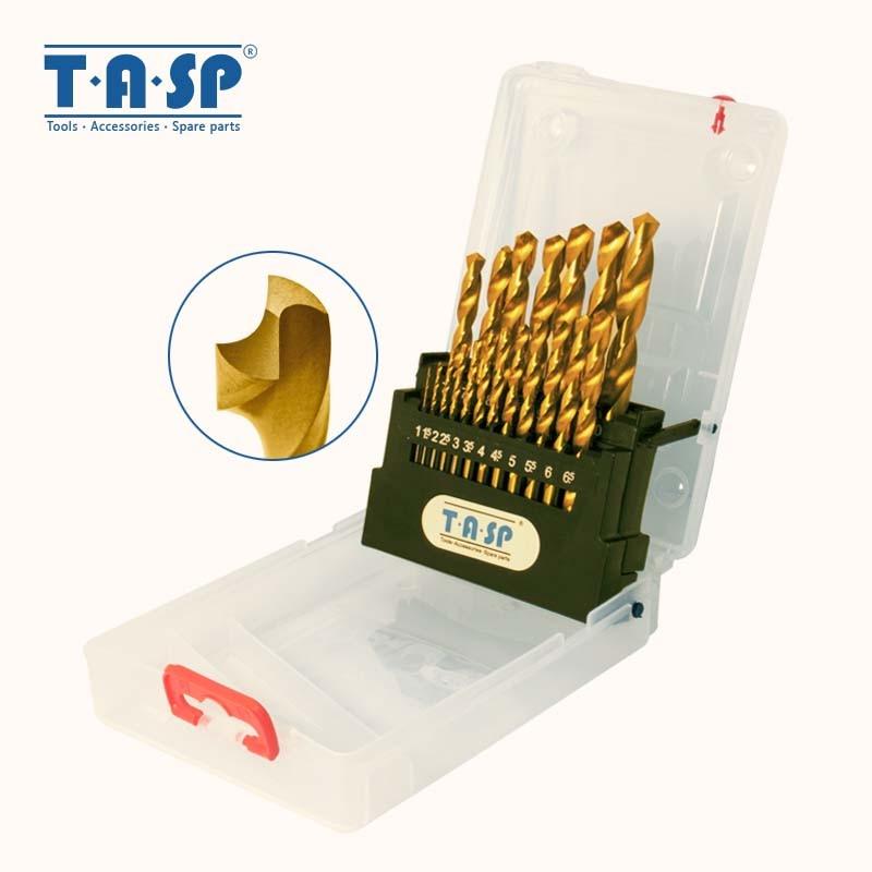 19 vnt. HSS gręžimo greitaeigio plieno titano padengto pasukimo gręžimo komplektas metaliniam apvaliajam kotui 1,5 - 10 mm - namo savininkas