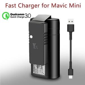 Image 1 - YX ل dji mavic البسيطة QC3.0 سريع شاحن البطارية USB شحن ، مع نوع C كابل ، ل DJI Mavic البسيطة ملحقات طائرة بدون طيار
