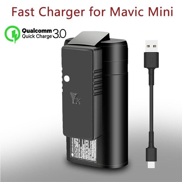 YX ل dji mavic البسيطة QC3.0 سريع شاحن البطارية USB شحن ، مع نوع C كابل ، ل DJI Mavic البسيطة ملحقات طائرة بدون طيار
