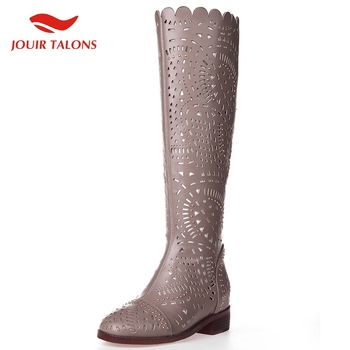 JOUIR TALONS High Quality 2020 Dropship Hollow Zip Up Mid Calf Boots Woman Shoes Chunky Heels Concise Shoes Women Boots Female