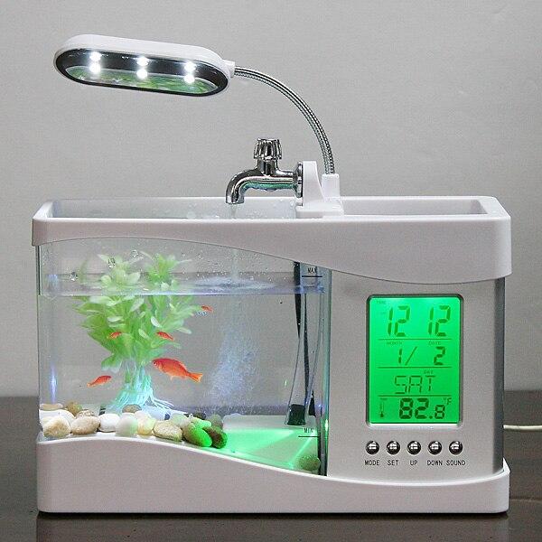 New Aquarium Black/ White USB Mini Aquarium Fish Tank Aquarium with LED Lamp Light LCD Display Screen and Clock Fish Tank Aquari
