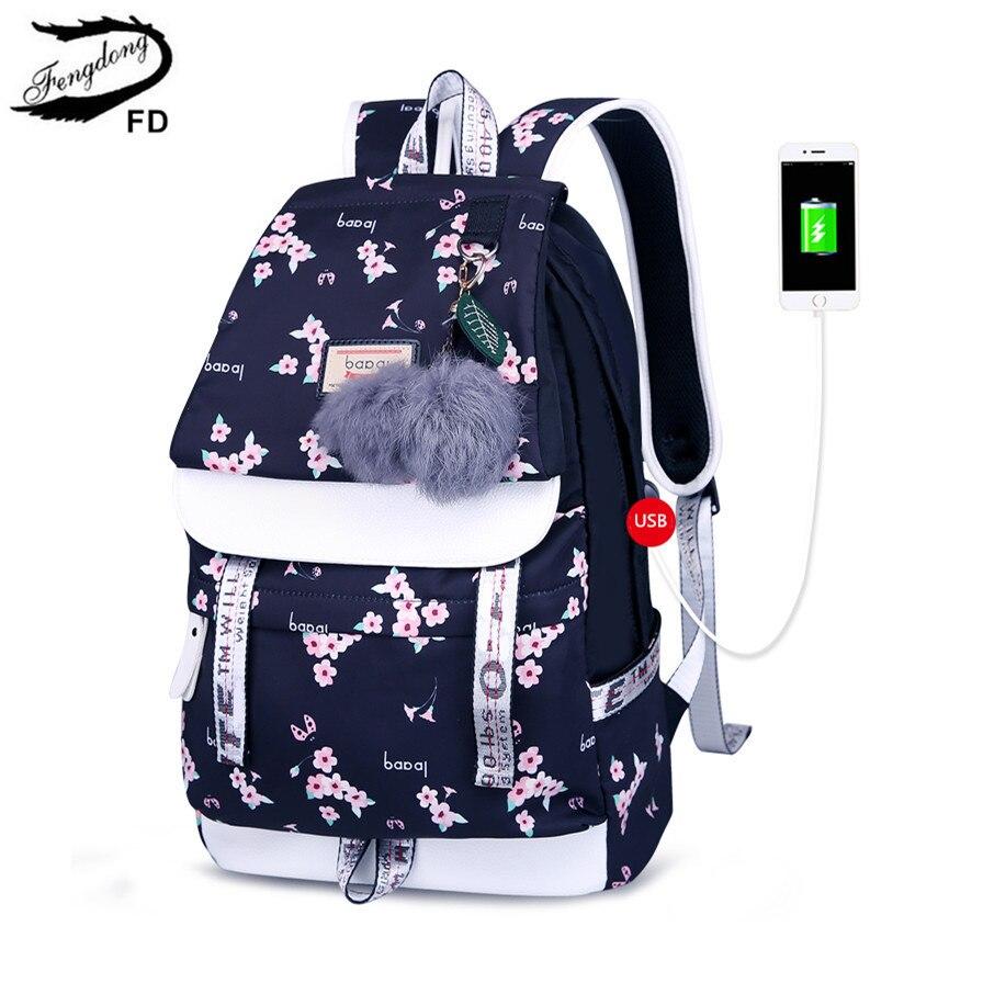 FengDong School Bags For Teenage Girls Children Cute Flower School Backpack Female Black Floral Schoolbag Kids Bookbag Gift Girl