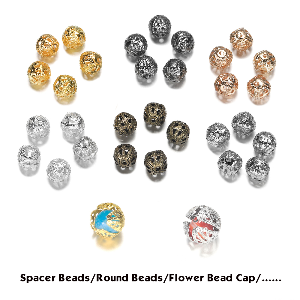 All Size 10-200pcs Round Crimp Spacer Beads Hollow Ball Flower Metal Charms Multipurpose Bead Caps For Jewelry Making Supplies