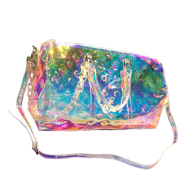 Rainbow Laser Gril Sport Bag Shine Women's Travel Handbag PVC Holographic Luggage Transparent 2019 Lady Tote Hologram SuitcasesDolls & Stuffed Toys