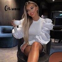 CNYISHE 2019, модная футболка с длинным рукавом-фонариком, женская элегантная Офисная Леди, топ, обычная, из кусков, сексуальная, тонкая футболка, ...