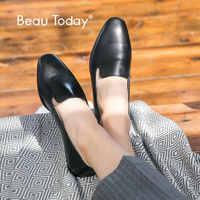 BeauToday mocasines mujer piel de becerro marca punta cuadrada Slip-On Lady Flats zapatos de calidad superior hecho a mano 27089