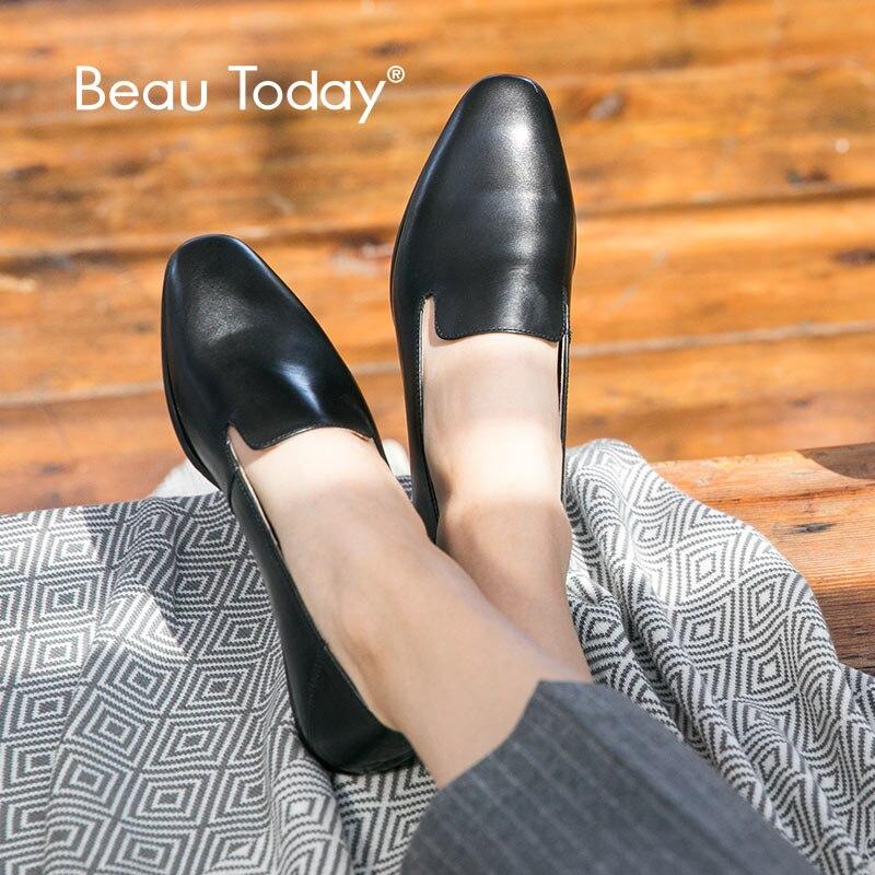 BeauToday mocassins femmes en cuir de veau marque bout carré sans lacet chaussures plates pour femme Top qualité chaussures à la main 27089