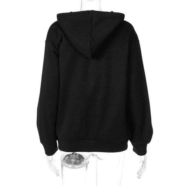 2020 Y2K Fashion Rhinestone Zipper Oversized Hoodies E-girl Vintage Solid Letter Long Sleeve Black Sweatshirts Autumn Outfits 6